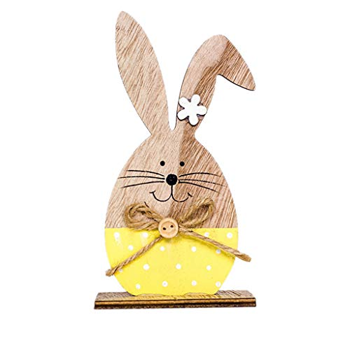 Iusun Easter Decorations Wooden Cute Rabbit Shapes Home Table Top Decor Pendant Wedding Festival Holiday Christmas Halloween Party Valentine's Day New Year Ornaments Craft Gifts -