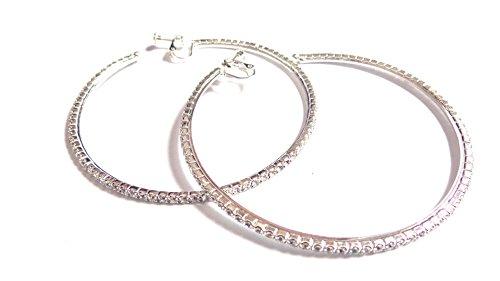 Clip-on Earrings Rhinestone Crystal Hoop Earrings Silver 2.25 inch Hoop Earrings - Rhinestone Hoop Pierced Earrings
