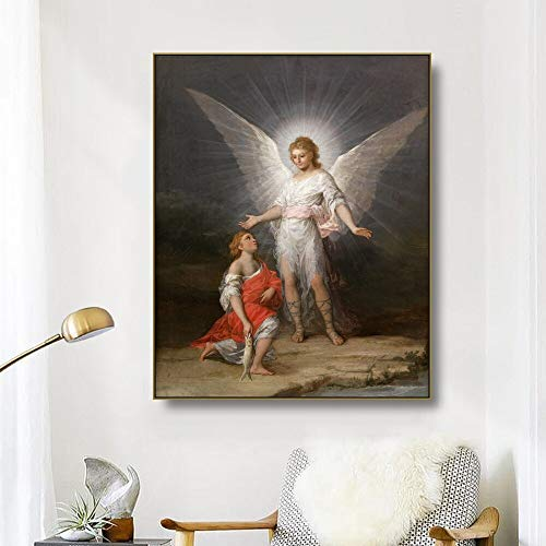 ganlanshu Arte de la Lona Pintura al oleo Angel Art Poster Imagen Sala Moderna decoracion de la Pared del hogar,Pintura sin Marco,70x90cm