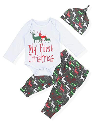 Yiner Christmas Baby Boys Girls Outfit My First Christmas Print Top + Long Pants Clothes Costume(6-9 Months),100