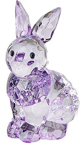 Crystal Expressions by Ganz Sitting Bunny Rabbit Home Décor Multi-Faceted Clear Acrylic Tiny Figurine for Your Kitchen Table, Window Sill, or Shelf (Purple)