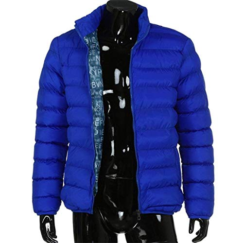 Coat Down Men Coat Outerwear Men Men Down Thick Cotton Apparel Blend Turndown Warm Casual Warm 4 Huixin Color Collar Slim Winter Himmelblau Jacket in Polyester Casual Parka Solid Men q5IwPnt