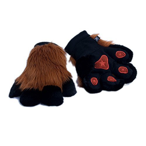 Pawstar Paw Mitts Furry Animal Hand Paws Costume Gloves Adults - Rust -