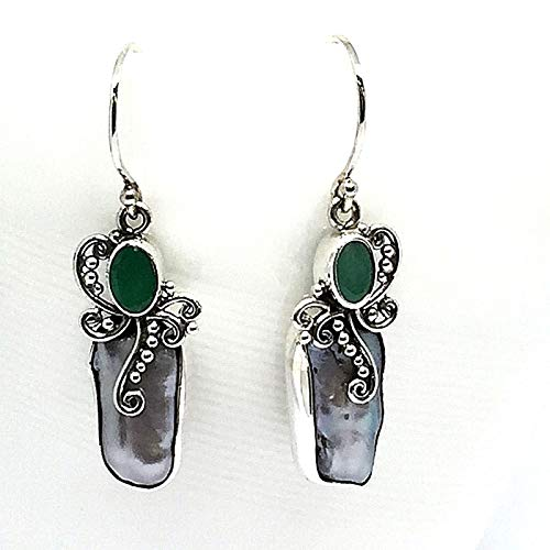(handmade 925 sterling silver earrings with genuine baroque pearl and green emerald, bali silver earrings with pearl and emerald, sea pearl earrings, emerald earrings)
