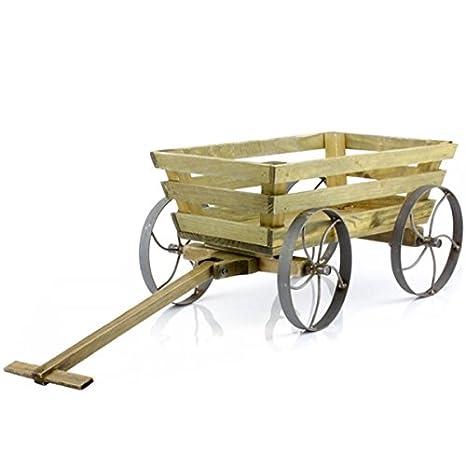 75 cm de madera para jardín remolque basurero 4 ruedas VINTAGE carretilla multiusos con ruedas: Amazon.es: Hogar