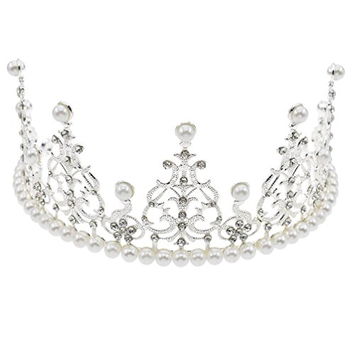 JANOU Crown Cake Topper Crystal Pearl Tiara Hair Ornaments for Wedding Birthday Party Cake Decoration (Silver)