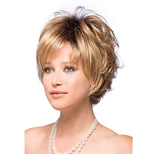 Beauty : LEJIMEI Short Wigs for Women Blonde Curly Hair Wigs with Bangs Full Fluffy Synthetic Natural Looking Wigs with Wig Cap LM024