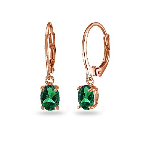 LOVVE Rose Gold Flashed Sterling Silver Created Emerald 7x5mm Oval Dangle Leverback Earrings