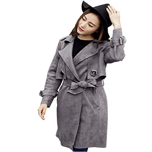 Suede Cotton Trench Coat Jacket Fashion Faux Fur Lapel Double-breasted Thick Wool Trench Coat Jacket (Gray, M) ()