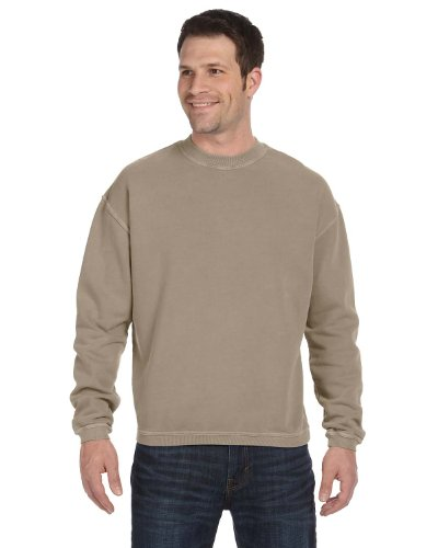 Authentic Pigment Pigment-Dyed Ringspun Cotton Fleece Crew, Medium, MOCHA
