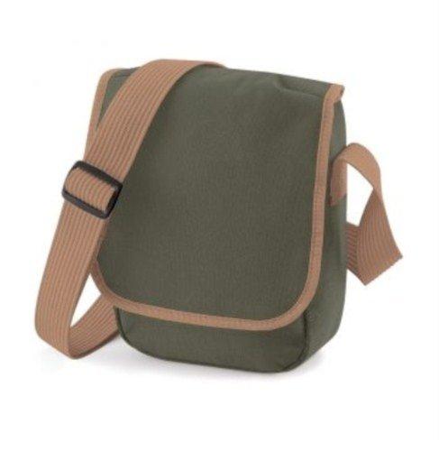 BagBase Mini Reporter, blanco y negro (multicolor) - PC2014-BG18-White Black-ONE Olive Green Caramel