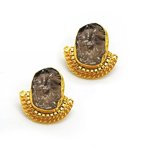 Vaidehijewellers01 Designer 18k Gold Plated Smoky Topaz Rough Stone Stud Beautiful Part Wear Earring for Women