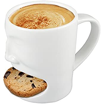 Neolith 6 oz Ceramic Cookies Mug with Biscuit Holder White Morning Breakfast Coffee Tea Mug Dunk Cup Gifts Box