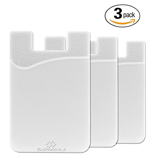 3 Pack Phone Card Holder, SHANSHUI Ultra Slim Credit&ID Card Holder Wallet Stick on iPhone, Android & Most Smartphones (White/3pcs)