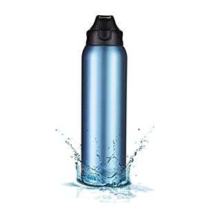 MIRA Double Walled BPA Free Vacuum Insulated Lightweight Sports Travel Water Bottle | Leak-proof One Touch Flip Top Wide Mouth Stainless Steel Water Bottle | 34 Oz (1 Liter) | Blue