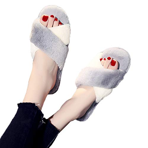 Grey Cross Fur Slide Outdoor Indoor Toe Open Slippers Slipper Sandal Women Criss ZqnwPIAX