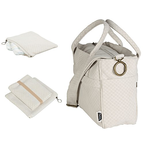 (MoBaby Carrera, Chic Plush Diaper Bag Tote, Travel Accessories Included: Comfortable Baby Changing Mat & Essentials Clutch Pouch (Cream))