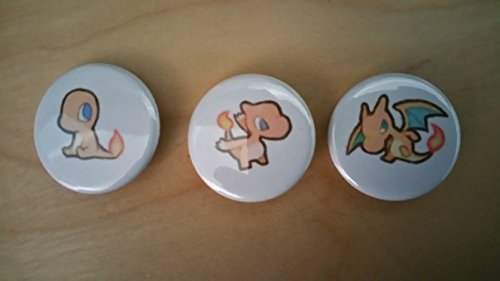 5x Pokemon Collectible 1'' inch Buttons - Charmander Charmeleon Charizard Evolution Set - Custom Made - Pin Back - Gift Party Favor by Legacy Pin Collection