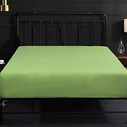 NTBAY Fitted Sheet Twin Sage Green Brushed Microfiber Deep Pocket Sheet Wrinkle, Fade, Stain Resistant ()