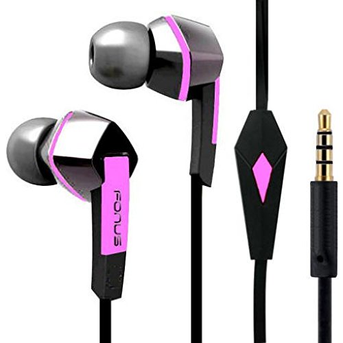 Headset Handsfree Earphones Pink Earbuds w Mic Dual Headphones Stereo Flat Wired 3.5mm Compatible with LG V40 ThinQ ()