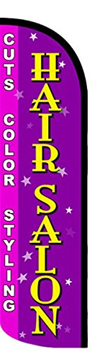 New Hair Salon (Cuts Color Styling) Windless Stay-Open Feather Swooper Flag Banner Kit: 15' Fusion Pole Set, Galvanized Steel Stake