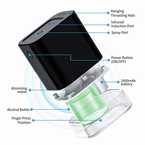 NorSway Automatic Alcohol Disinfection Sprayer, Mini Infrared Induction Touchless Hand Sanitizer Dispenser, Portable Sterilizer Suitable for Home, Restaurant, School, Hotel,Company