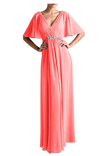 Women's A-line Mother of The Bride Dress Chiffon Flutter Sleeves Groom's Party Gown Coral US2