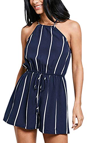 Floral Striped Tie - ECOWISH Womens Floral Striped Tie Front Spaghetti Strap Jumpsuits Sleeveless Casual Summer Romper Shorts NavyBlue M
