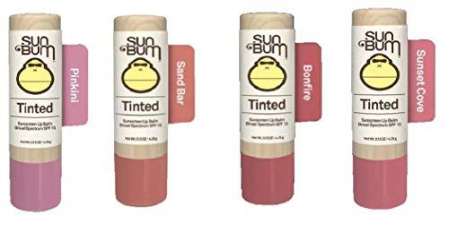 Sun Bum SPF15 Tinted Lip Balm Bonfire + Sunset Cove + Sand Bar + Pikini (4 pcs)