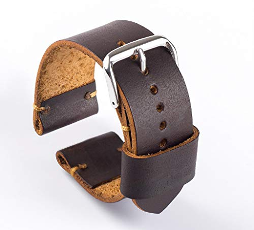 22mm Leather Watch Band Brown Color Compatible for Samsung Gear S3 Frontier Bands | Galaxy Watch 46mm Bands Free Removal Tool Kit Set