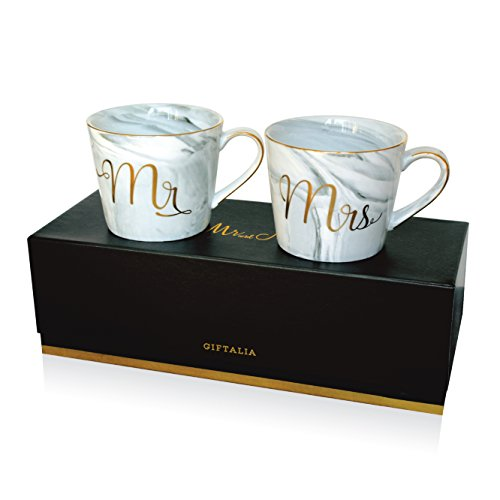 Wedding Gift - Mr and Mrs Mug Set - Classy and Elegant Gift Box with 2 Marble/Gold Tea or Coffee Cups - Beautiful Couples Anniversary, Engagement or Wedding Present for Bride and Groom - His and Her's by GIFTALIA (Image #1)