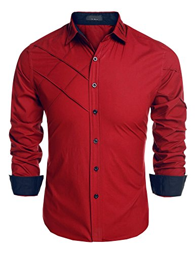 Detailorpin Men's Dress Shirt Slim Fit Casual Button Down Long Sleeve Shirt by Detailorpin