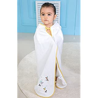 IDEORGANIC Organic Hooded Extra Soft and Thick Baby Towel, Baby Bath Towel, Infant/Newborn/Toddler Shower Present for Boy&Girls,%100 GOTS Certified (Yellow Sheep)