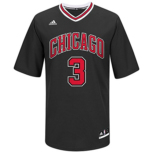 NBA Men's Chicago Bulls Dwayne Wade Replica Player Alternate Road Jersey, Large, Black
