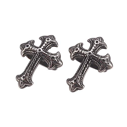 (UNICRAFTABLE 10PCS Antique Silver 304 Stainless Steel Cross Shape Slide Charms Christian Cross Pendant Charms European Metal Loose Beads for Bracelets Necklace Jewelry Making 23x18x10mm Hole 5x12mm)