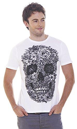 Retreez Cool Floral Skulls Tattoo Graphic Printed T-shirt