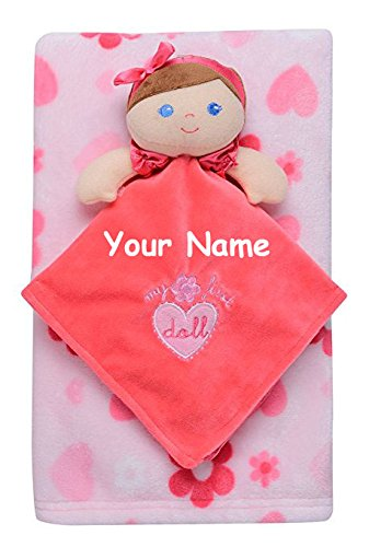 Musical Newborn Doll (Personalized Baby Starters Pink Doll Baby Snuggle Buddy Blanket and Stroller Blanket Set)