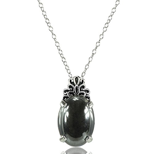 Hematite Bear - Sterling Silver Simulated Hematite Oxidized Bali Inspired Filigree Oval Necklace