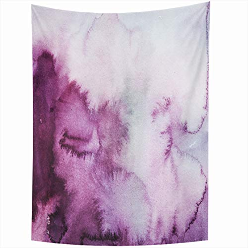 AlliuCoo Wall Tapestries 50 x 60 Inches Watercolour Plum Purple Clouds Watercolor Ombre Wash Abstract Brush Home Decor Wall Hanging Tapestry Living Room Dorm
