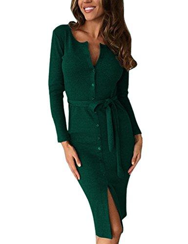 Kancystore Women's Long Sleeve Round Collar Business Buttons Sheath Dress (Dark Green, M) by Kancystore