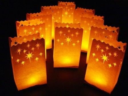 Fascola 20 Pack Stars Candle Bags Luminarie Lantern Wedding Party Light Decorations