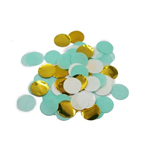 Mybbshower 1 inch Gold Mint Wedding Balloon Confetti Table Scatter Birthday Party Decorations Pack of 2500