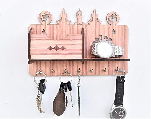 Dininecraft Wall Mounted 7 Hooks Wooden Wall Shelf Key Holder (Yoga)