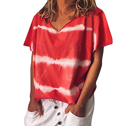 (Womens Tie Dye Shirt, Casual V Neck Short Sleeve T Shirts Summer Loose Tee Blouses S-5XL Fashion Basic Tunic Tops Red)