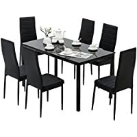 Mecor 7 Piece Kitchen Table Set with 6 Chairs Kitchen Furniture,Black