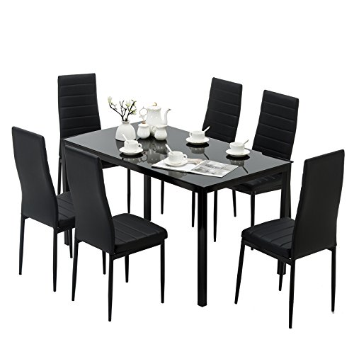Mecor Dining Set Glass Top Table with Leather Chairs Kitchen Breakfast Furniture Black (7 PC) (Furniture Table Breakfast)