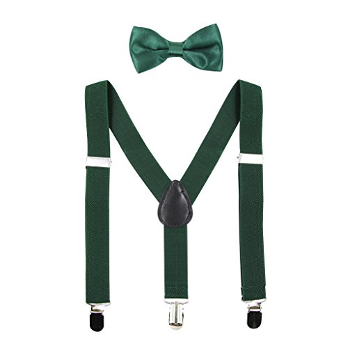 Hanerdun Kids Suspender Bowtie Sets Adjustable Suspender With Bow Ties Gift Idea For Boys And Girls, Dark Green, One Size