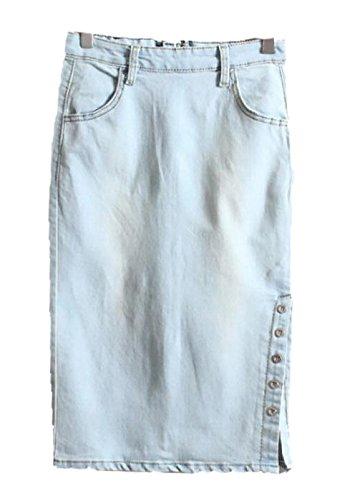 Enlishop Single Workwear Breasted Side Slit Jeans Denim Midi Skirt L Light Blue
