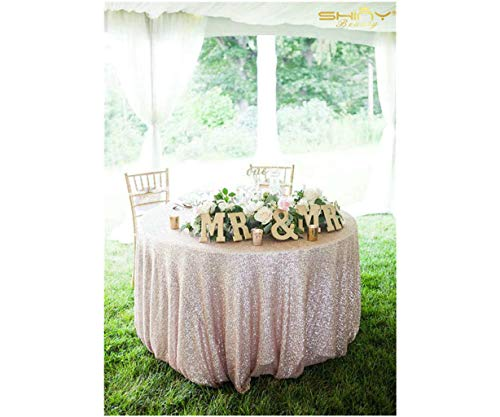 ShinyBeauty Sequin Tablecloth-Champagne-48Inch Round Sparkle Tablecloth,Glitter Table Cloth,Sequin Wedding Tablecloth