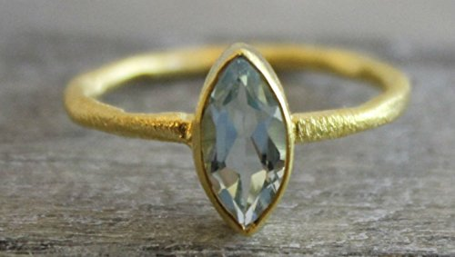 Petite Marquise Blue Topaz Gemstone Gold Plated Sterling Silver Ring, size 6 - Topaz Ring Marquise